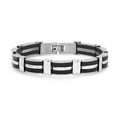 Steeltime Stainless Steel Semisolid Link Link Bracelet