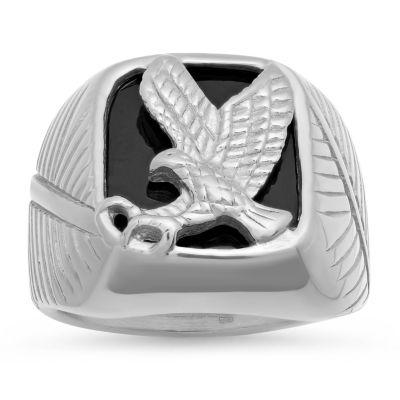 Steeltime Mens Stainless Steel Eagle Ring