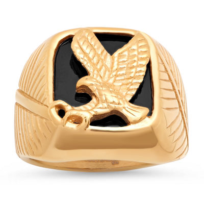 Mens 18K Gold over Stainless Steel Eagle Ring