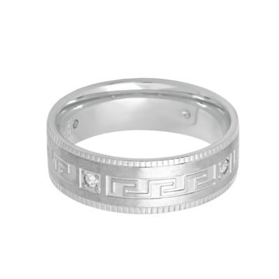 Mens White Cubic Zirconia Stainless Steel Band