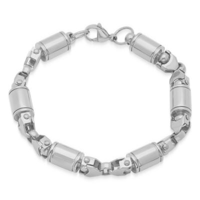 Steeltime Mens 8 1/2 Inch Stainless Steel Chain Bracelet