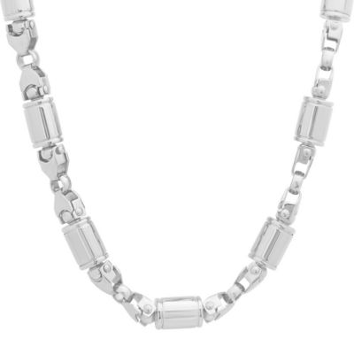 Steeltime Stainless Steel Solid Link 24 Inch Chain Necklace