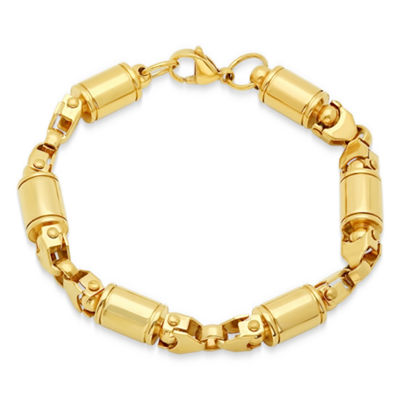 Mens 8 1/2 Inch 18K Gold over Stainless Steel Chain Bracelet