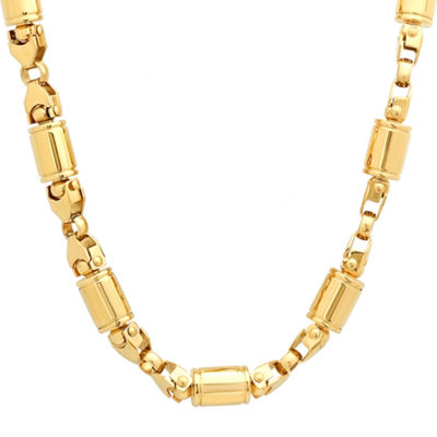 Mens 18K Gold over Stainless Steel 24 Inch Chain Necklace