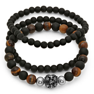 Mens 3-pc. Black Lava & Tigers Eye Bead Bracelet Set