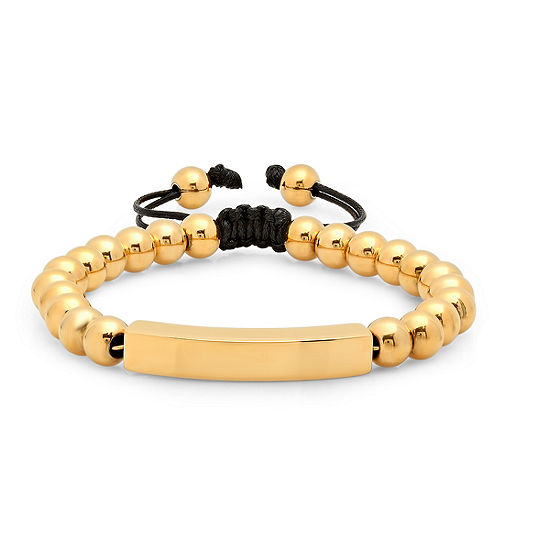 Mens 18K Gold over Stainless Steel Beaded Bracelet