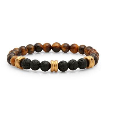 Steeltime Mens Tigers Eye & Black Lava Beaded Bracelet