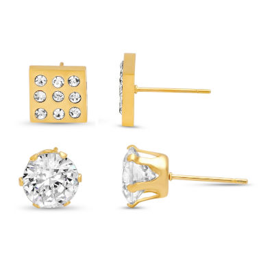 2 Pair White Cubic Zirconia 18K Gold over Stainless Steel Earring Sets