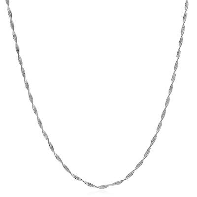 Made In Italy Sterling Silver Solid Herringbone Chain Necklace