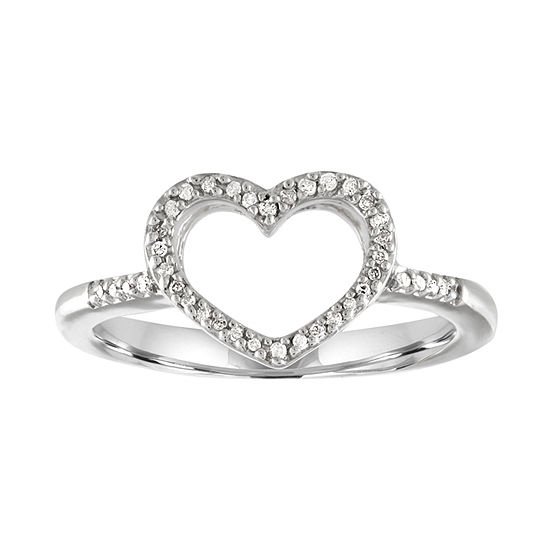 1/10 CT. T.W. Diamond Sterling Silver Mini Heart Ring