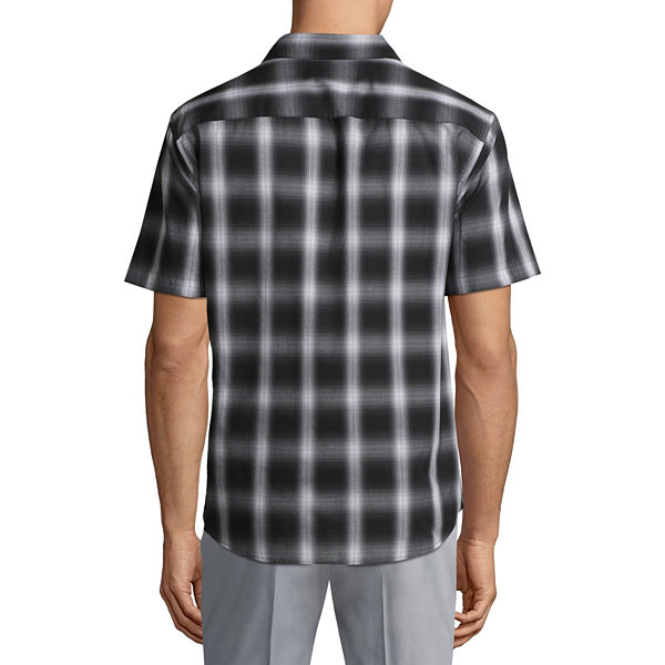 Claiborne Short Sleeve Plaid Button-Front Shirt