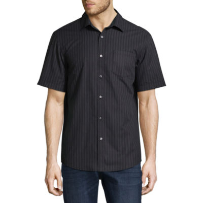 Claiborne Short Sleeve Stripe Button-Front Shirt