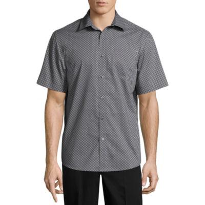 Claiborne Short Sleeve Dots Button-Front Shirt