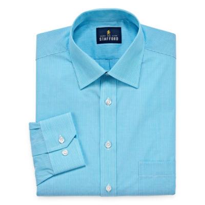 Stafford Travel Easy-Care Broadcloth - Big And Tall Long Sleeve Broadcloth Stripe Dress Shirt