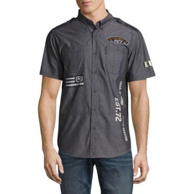 Ecko Unltd Short Sleeve Patchwork Button-Front Shirt