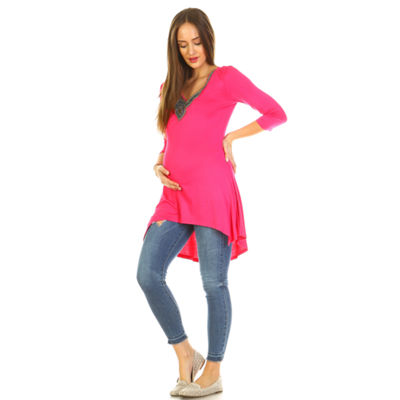 White Mark 'Calla' Embellished Tunic - Plus Maternity