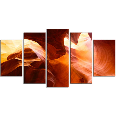 Designart Yellow Antelope Canyon (373) Landscape Photo Canvas Art Print - 5 Panels