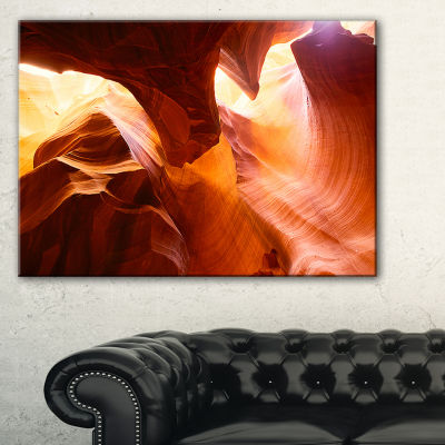 Designart Yellow Antelope Canyon Landscape Photo Canvas Art Print