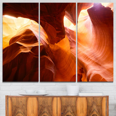 Designart Yellow Antelope Canyon Landscape Photo Canvas Art Print - 3 Panels