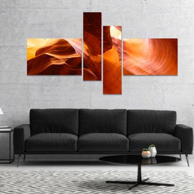 Designart Yellow Antelope Canyon Landscape Photo Canvas Art Print   4 Panels