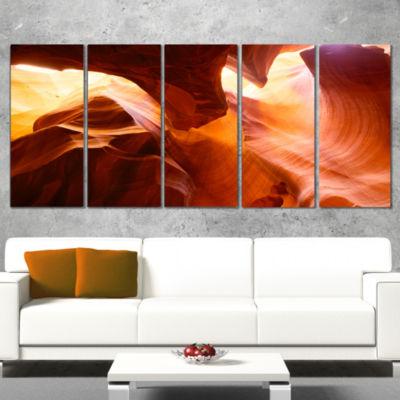 Designart Yellow Antelope Canyon Landscape Photo Canvas Art Print - 5 Panels