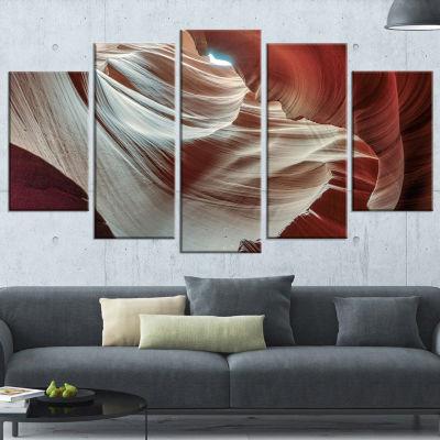 Designart Antelope Canyons Hollow Brown Landscape Photo Canvas Art Print - 5 Panels