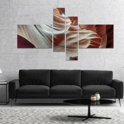 Designart Antelope Canyons Hollow Landscape PhotoCanvas Art Print   4 Panels