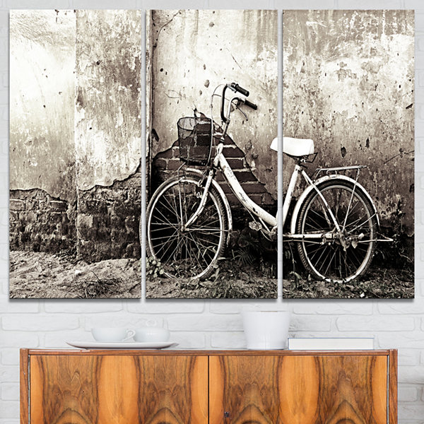 Designart Old Bicycle And Cracked Wall Photography Canvas Art Print - 3 Panels