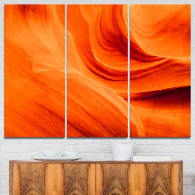 Designart Orange Upper Antelope Canyon Landscape Photography Canvas Print - 3 Panels