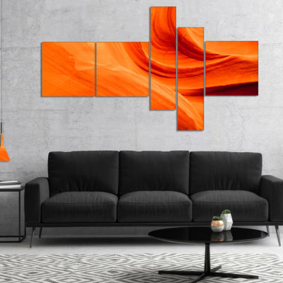 Designart Orange Upper Antelope Canyon Landscape Photography Canvas Print   5 Panels