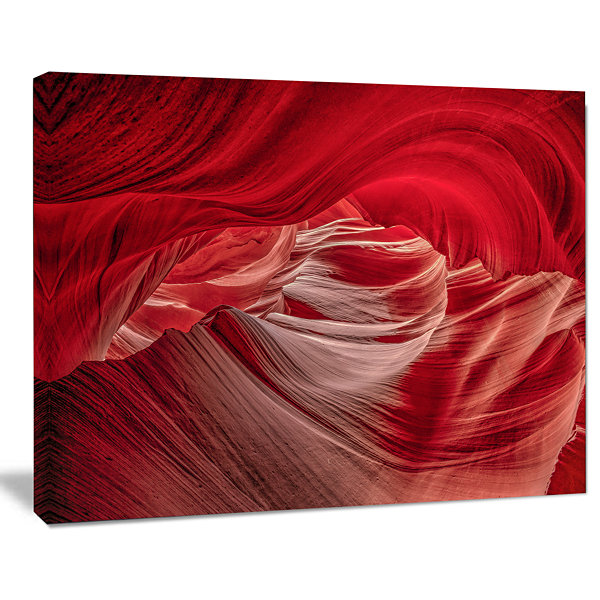 Designart Red Shade In Antelope Canyon Landscape Photography Canvas Print