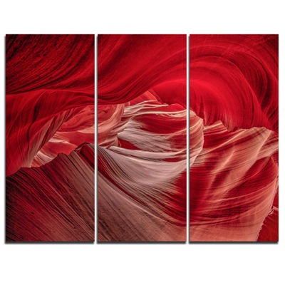 Designart Red Shade In Antelope Canyon Landscape Photography Canvas Print - 3 Panels