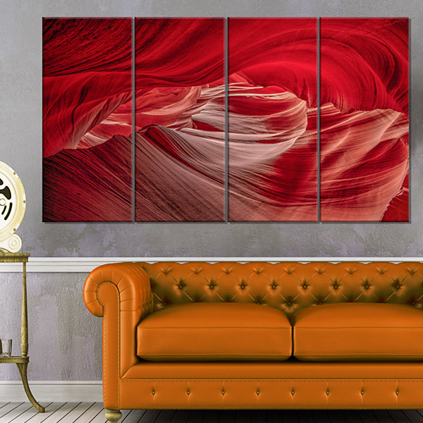 Designart Red Shade In Antelope Canyon Landscape Photography Canvas Print   4 Panels