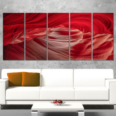 Designart Red Shade In Antelope Canyon Landscape Photography Canvas Print   5 Panels