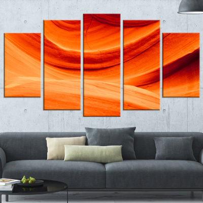 Designart Antelope Canyon Orange Wall (373) Landscape Photography Canvas Print - 5 Panels