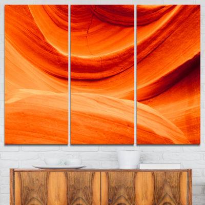 Designart Antelope Canyon Orange Wall Landscape Photography Canvas Print - 3 Panels