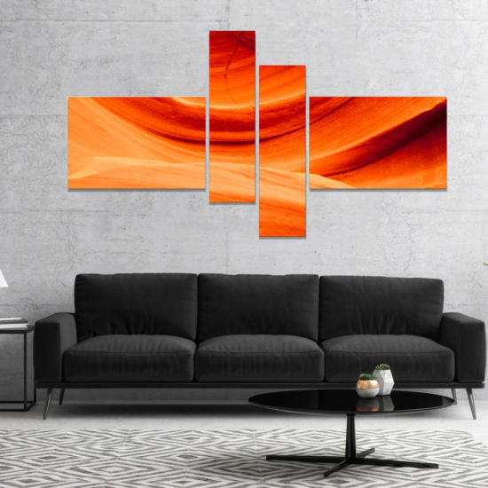 Designart Antelope Canyon Orange Wall Landscape Photography Canvas Print   4 Panels