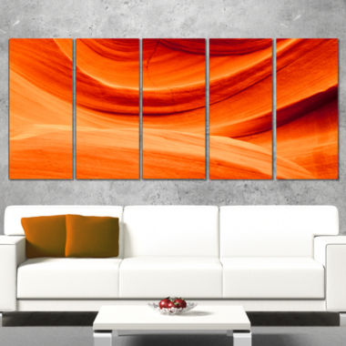 Designart Antelope Canyon Orange Wall Landscape Photography Canvas Print   5 Panels