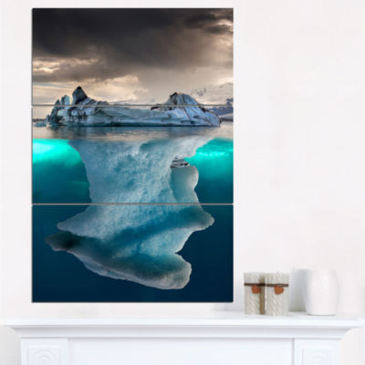 Designart Iceberg In Sea Photography Canvas Art Print - 3 Panels