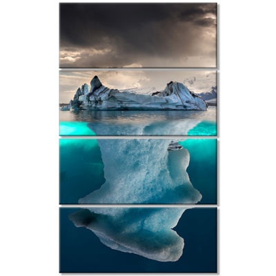 Designart Iceberg In Sea Photography Canvas Art Print - 4 Panels