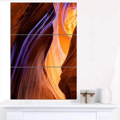 Designart Blue Wall Of Antelope Canyon Landscape Photography Canvas Print - 3 Panels