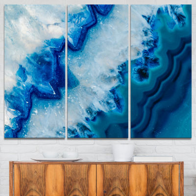 Designart Geode Slice Macro Abstract Canvas Art Print - 3 Panels