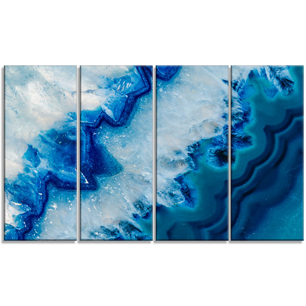 Designart Geode Slice Macro Abstract Canvas Art Print 4 Panels
