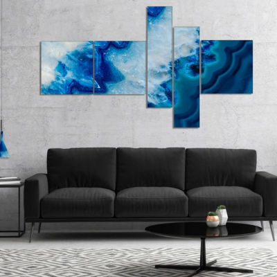 Designart Geode Slice Macro Abstract Canvas Art Print - 5 Panels