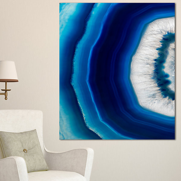 Designart Blue Agate Crystal Abstract Canvas Art Print
