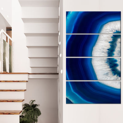 Designart Blue Agate Crystal Abstract Canvas Art Print - 4 Panels
