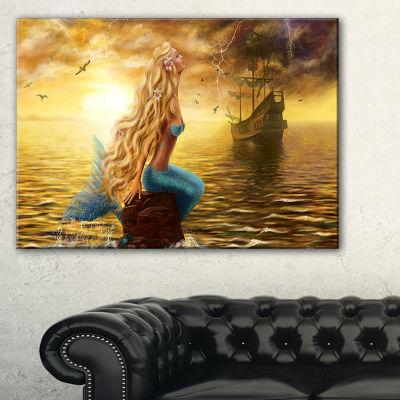 Designart Sea Mermaid With Ghost Ship Seascape Canvas Art Print