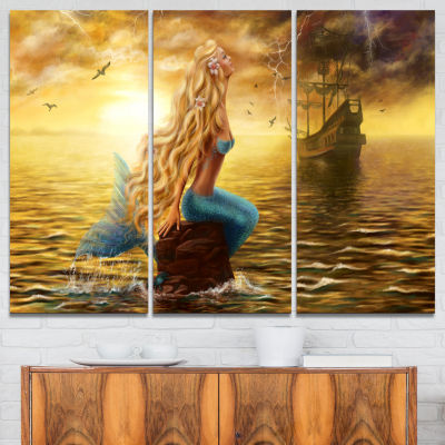 Designart Sea Mermaid With Ghost Ship Seascape Canvas Art Print - 3 Panels