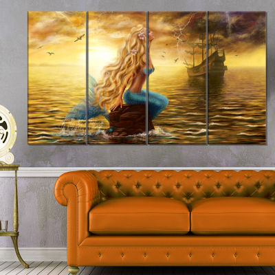 Designart Sea Mermaid With Ghost Ship Seascape Canvas Art Print - 4 Panels