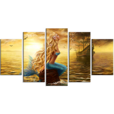 Designart Sea Mermaid With Ghost Ship Seascape Canvas Art Print   5 Panels